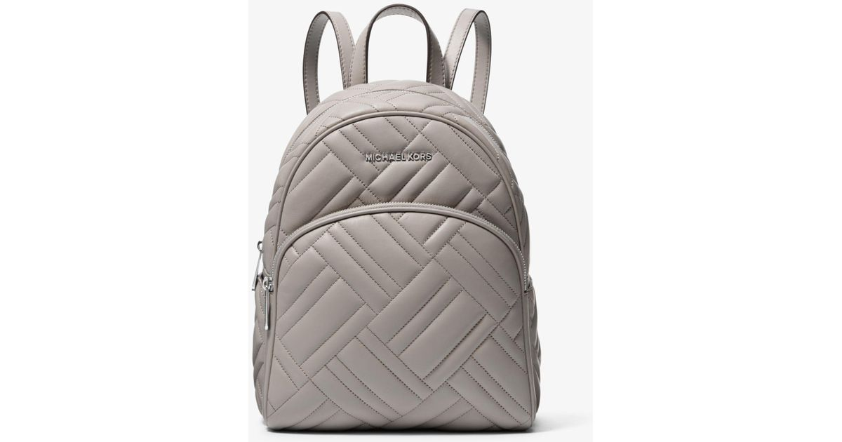 539898099b1e Lyst - Michael Kors Abbey Medium Quilted Leather Backpack in Gray