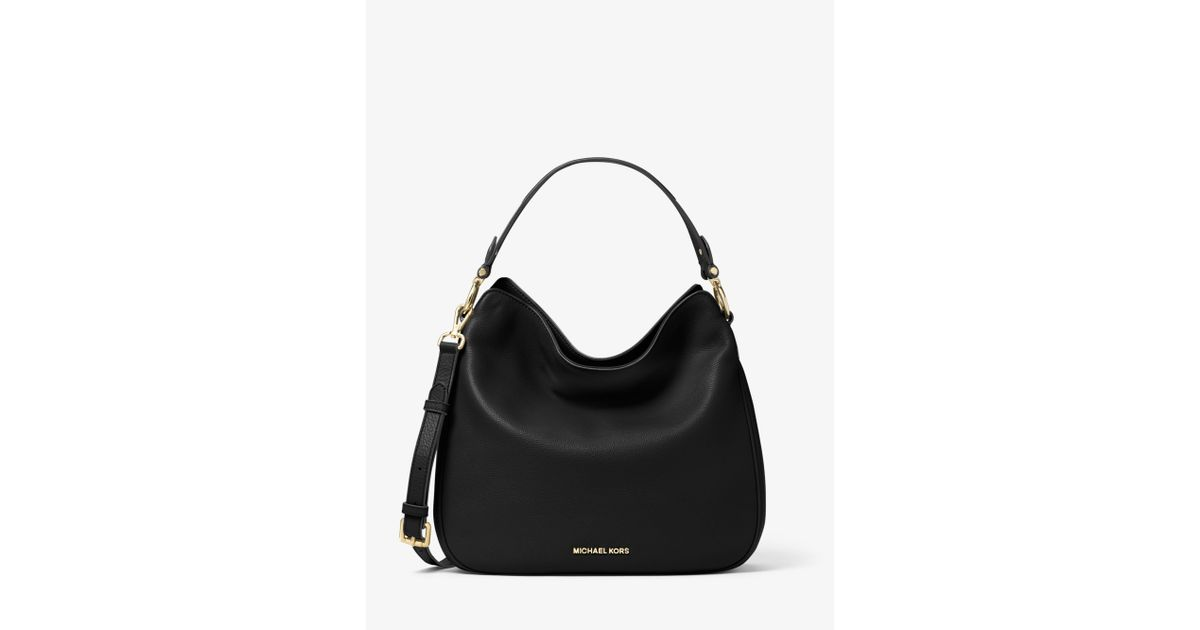 335974f457 ... best price lyst michael kors heidi medium leather shoulder bag in black  6d645 27fb9