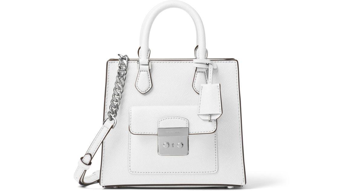 95a4553fdb81 Michael Kors Bridgette Small Saffiano Leather Crossbody Bag in White - Lyst