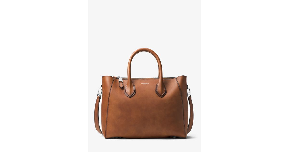 f00f1a84e410 Lyst - Michael Kors Helena Large French Calf Leather Satchel in Brown
