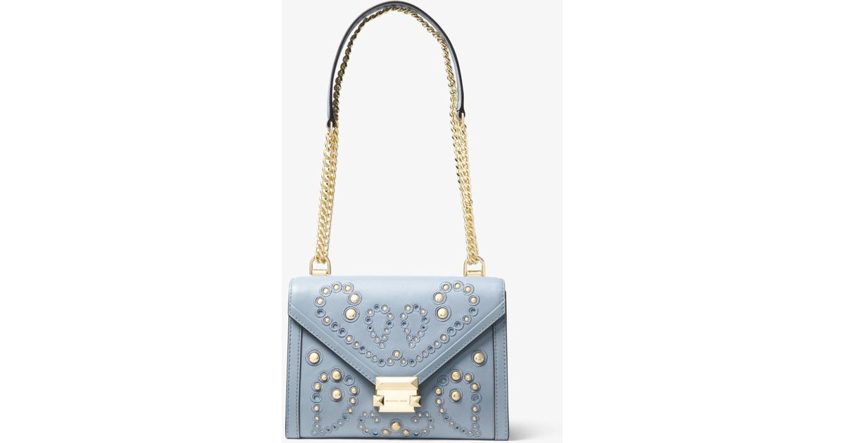 3c506bb14f18 Lyst - Michael Kors Whitney Large Embellished Leather Convertible Shoulder  Bag in Blue