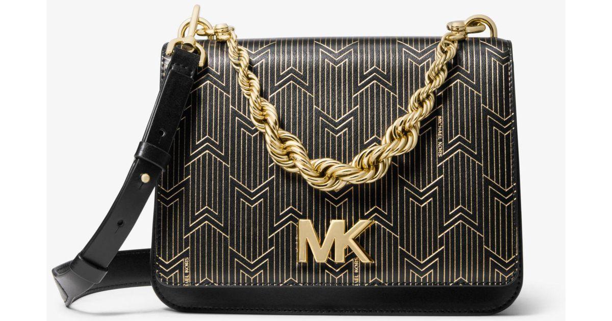 16b0bdb7701322 Michael Kors Mott Large Metallic Deco Leather Crossbody Bag in Black - Lyst
