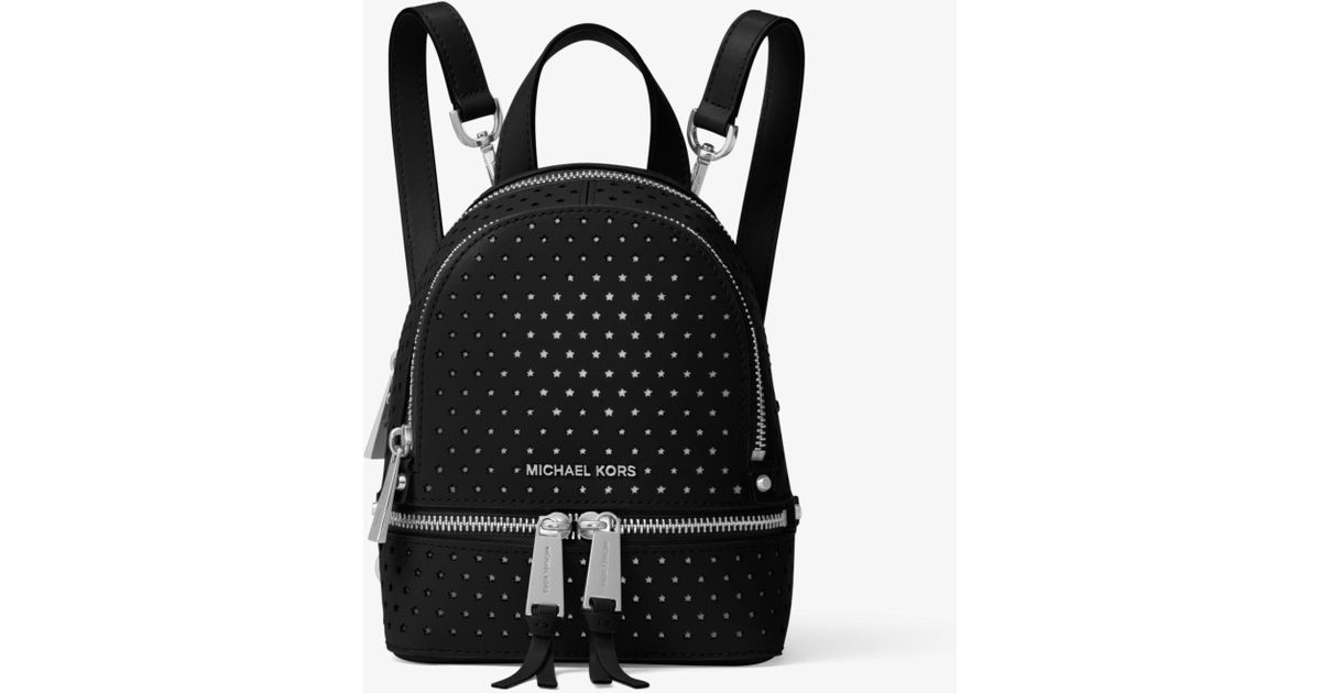 b17685fe3818b5 Michael Kors Rhea Mini Perforated Leather Backpack in Black - Lyst