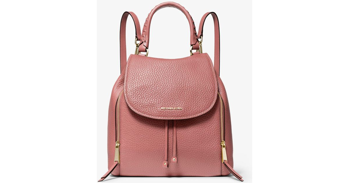 1bd614b6684651 Michael Kors Viv Large Pebbled Leather Backpack in Pink - Lyst