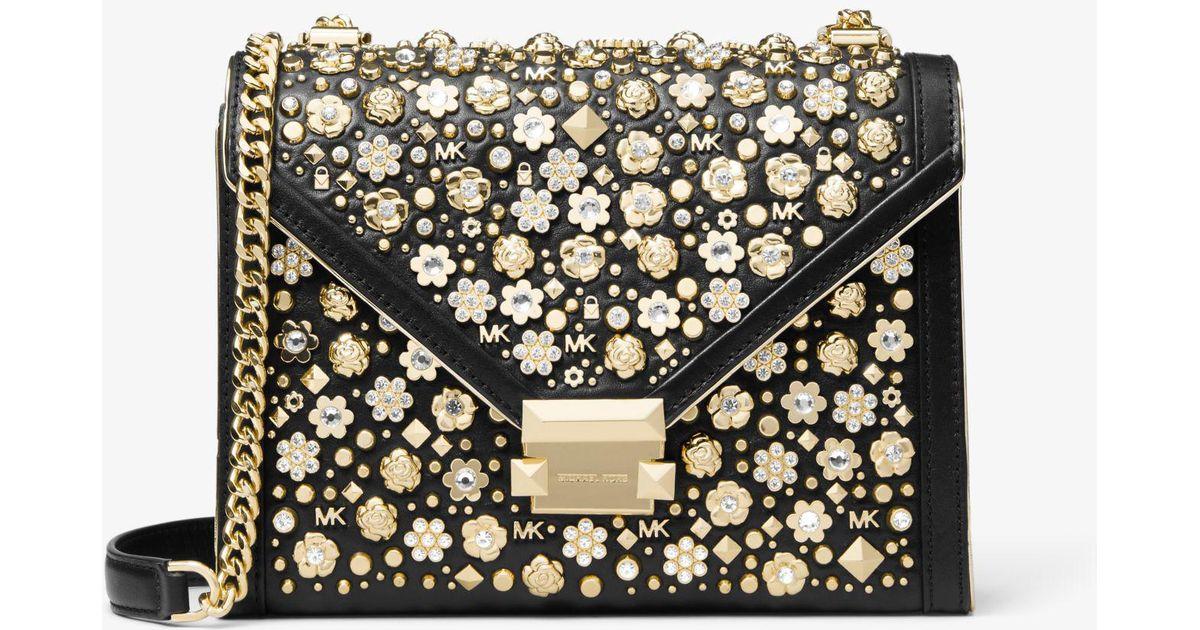 9389309b4bec Michael Kors Whitney Large Embellished Leather Convertible Shoulder Bag in  Black - Lyst