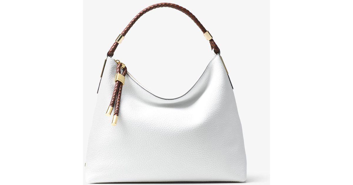 5ee984f5eb62 Lyst - Michael Kors Skorpios Large Pebbled Leather Shoulder Bag in White