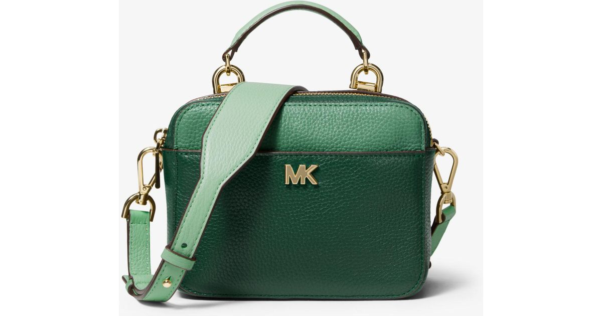 c661ae5eaa551f Michael Kors Mott Mini Color-block Pebbled Leather Crossbody in Green - Lyst
