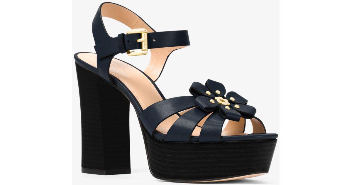 b1313da01f3 Lyst - Michael Kors Tara Floral Embellished Leather Platform Sandal