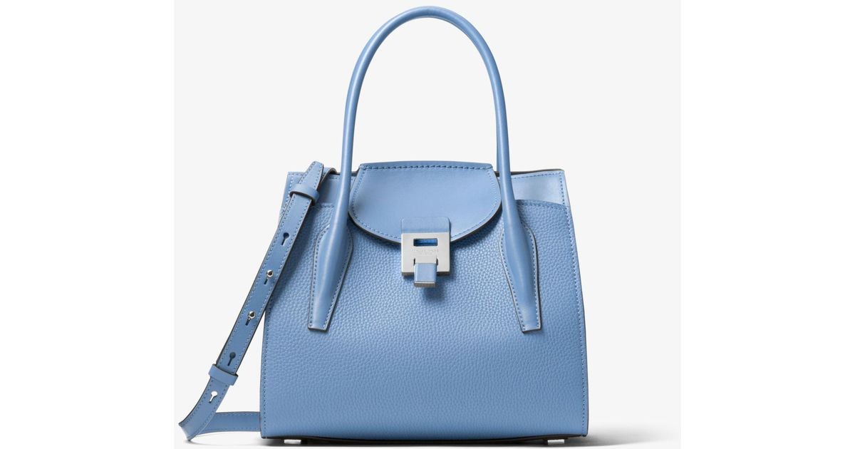 0b7988107c5197 Michael Kors Bancroft Medium Pebbled Calf Leather Satchel in Blue - Lyst