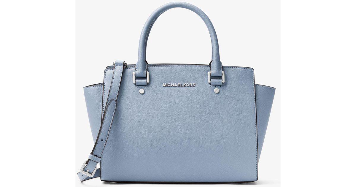 f3a70e742c55ea ... inexpensive lyst michael kors selma medium saffiano leather satchel in  blue d1b3e 7f789