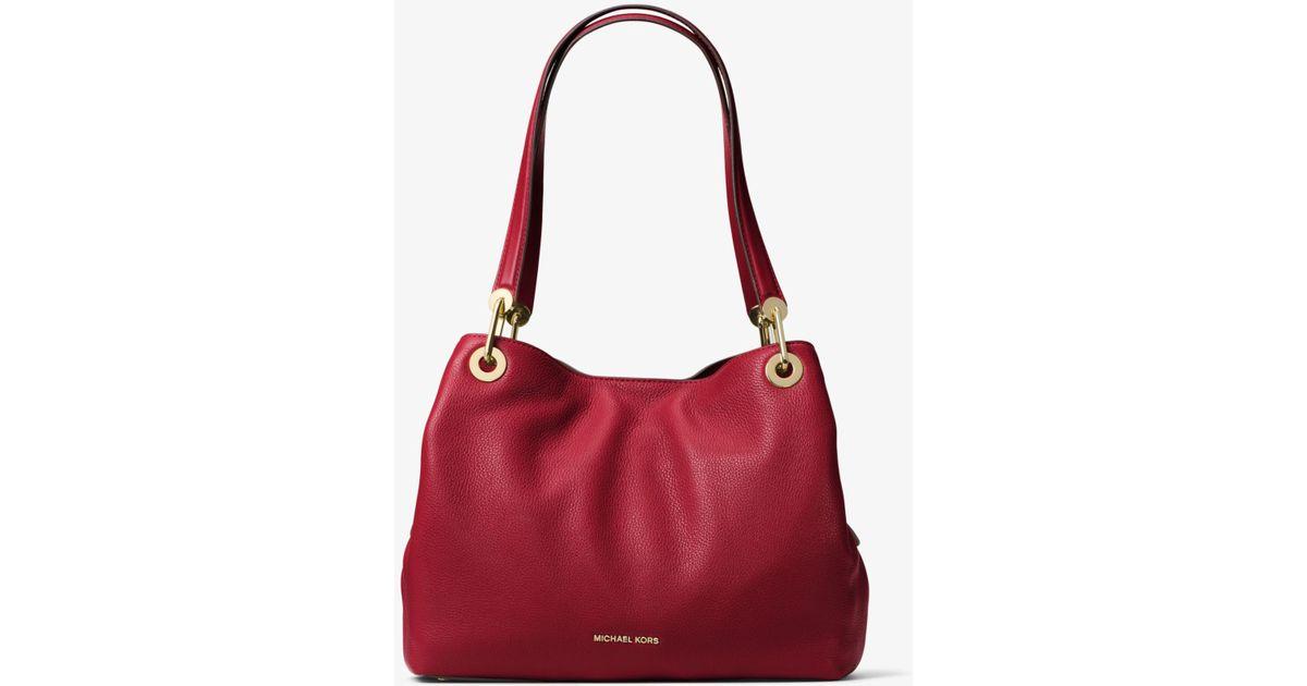 078455f662108 Lyst - Michael Kors Raven Large Leather Shoulder Bag in Red