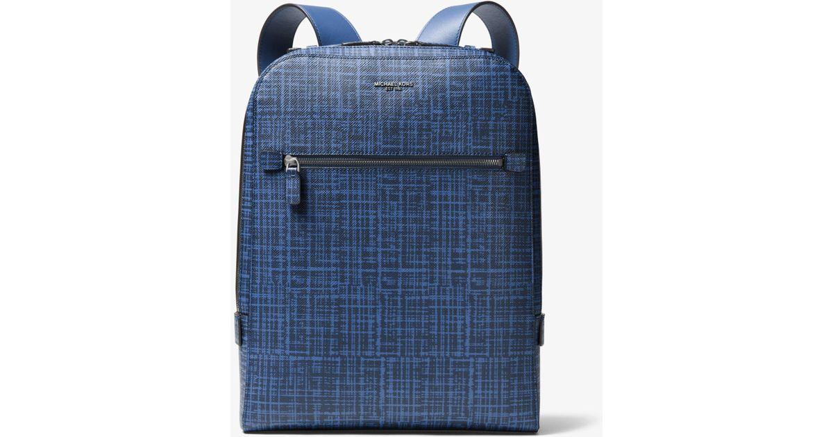 ba0c72a84be0 Michael Kors Harrison Crosshatch Leather Backpack in Blue for Men - Lyst