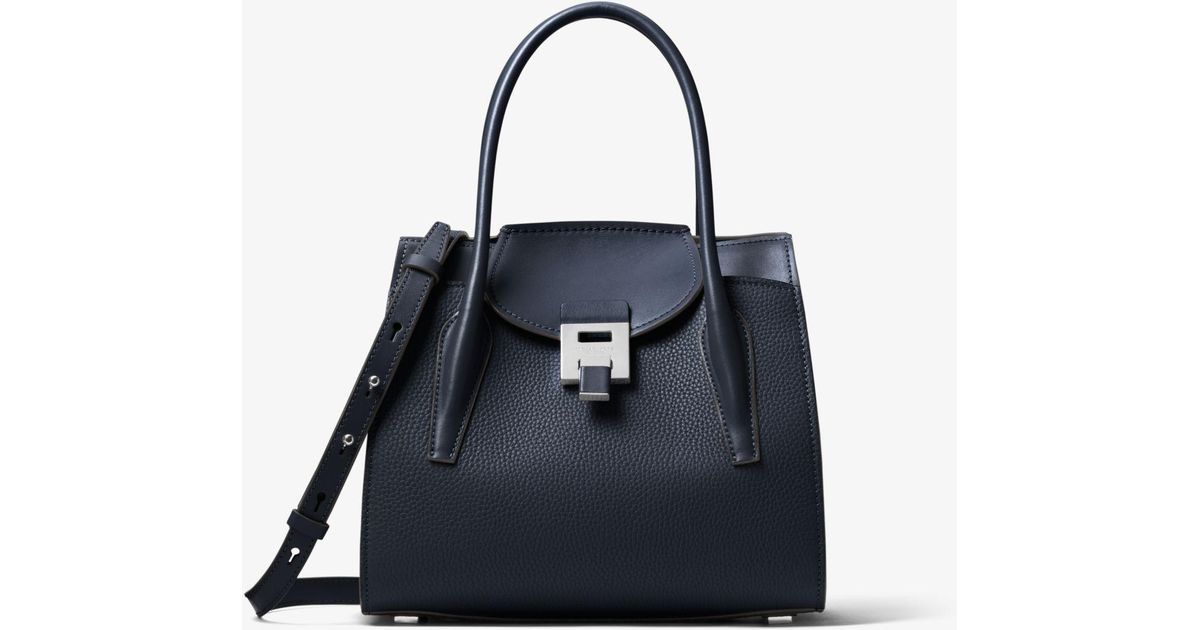 e99c84c25dcd90 Michael Kors Bancroft Medium Pebbled Calf Leather Satchel in Black - Save  70% - Lyst