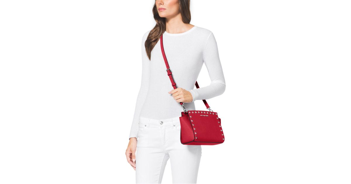ac4701284f6c ... purchase lyst michael kors selma medium studded leather messenger in  red b3921 5f397 ...