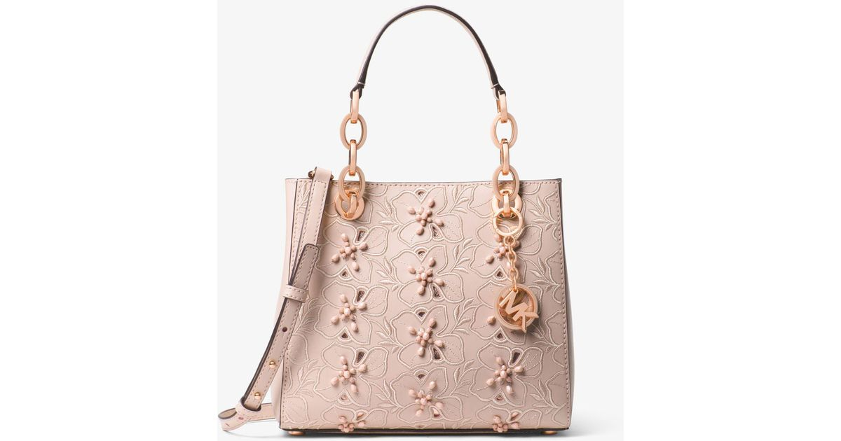 Michael Kors Cynthia Small Floral Embroidered Leather Satchel in Pink - Lyst ddfa413ed1f26