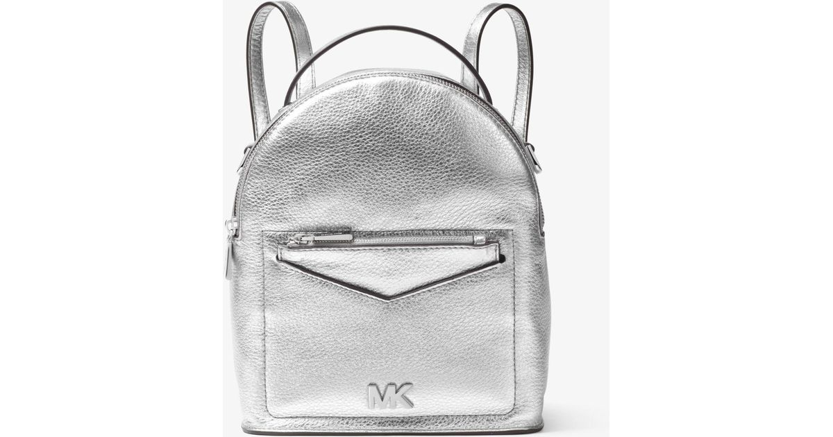 6a4dc065c03e Michael Kors Jessa Small Metallic Pebbled Leather Convertible Backpack in  Metallic - Lyst