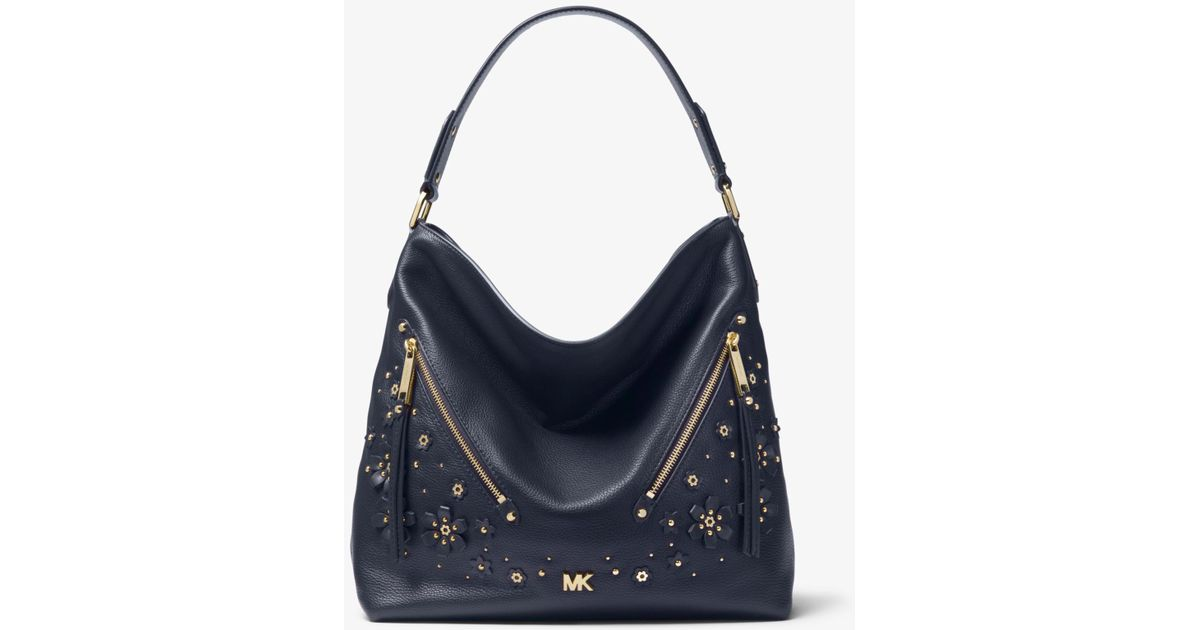 1a517fdd7e54 Lyst - Michael Kors Evie Large Floral Embellished Pebbled Leather Shoulder  Bag