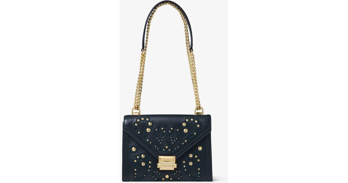 f4e4e5b3180d Michael Kors Whitney Large Embellished Leather Convertible Shoulder Bag -  Lyst