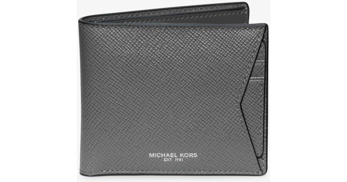 ef6cfc96c9e02 Lyst - Michael Kors Harrison Leather Billfold Wallet in Gray for Men