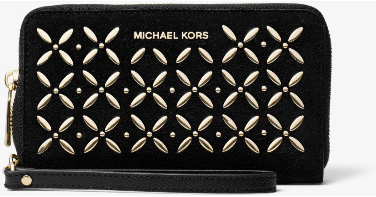01cf07c7fe6b Michael Kors Jet Set Large Embellished Leather Smartphone Wristlet in Black  - Lyst