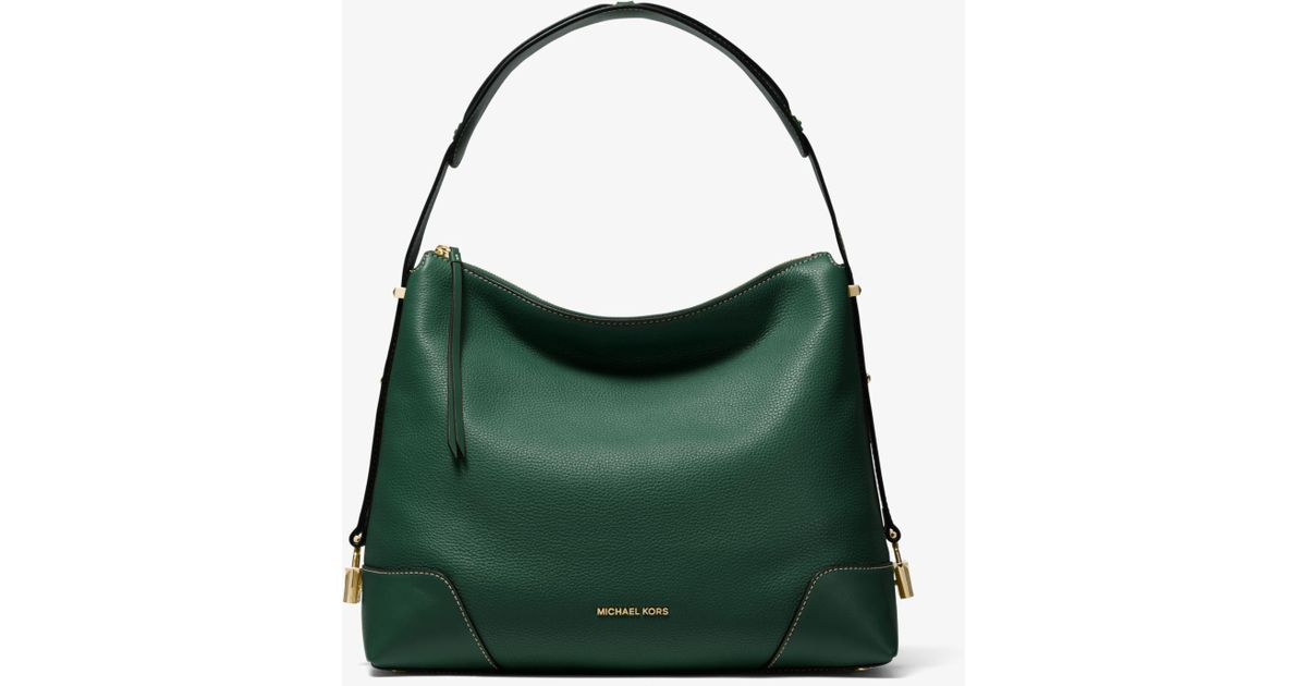 42c7675fd7 Lyst - Michael Kors Crosby Large Pebbled Leather Shoulder Bag in Green