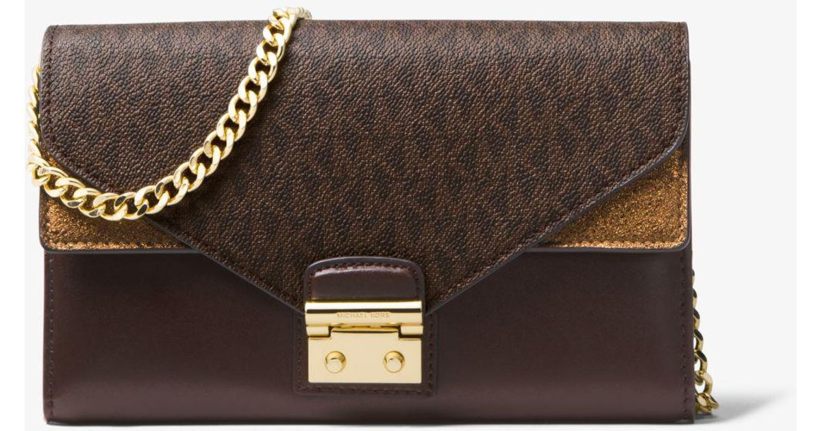 a6bea2c6e7be Lyst - Michael Kors Sloan Leather And Logo Chain Wallet in Brown