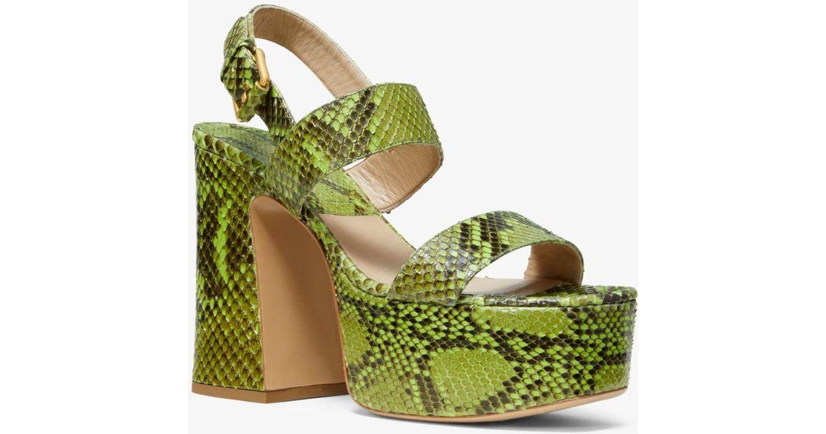 4020e836ba7b Lyst - Michael Kors Blaire Python Platform Sandal in Green
