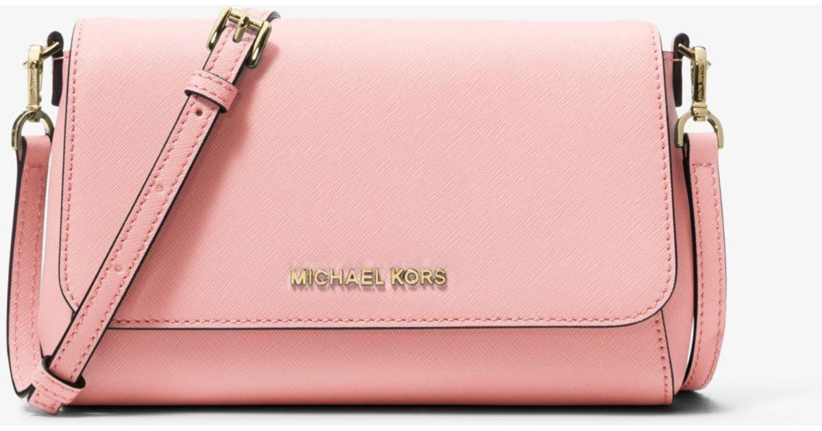 00bd5c981767 Lyst - Michael Kors Medium Saffiano Leather Convertible Crossbody in Pink