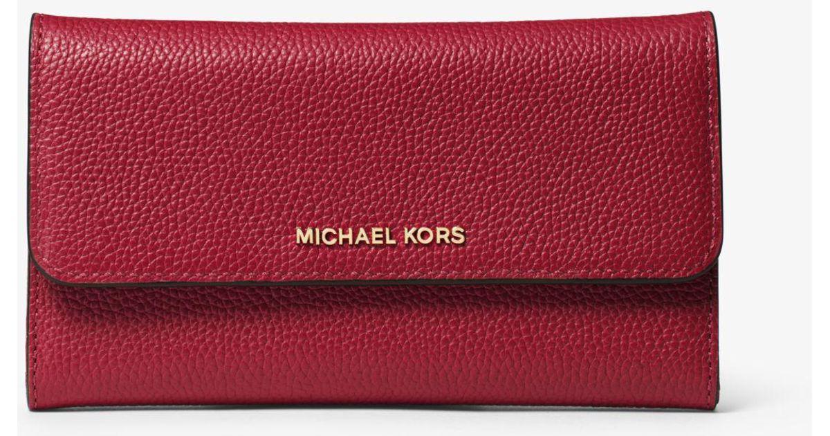 e6193b199b19c2 Lyst - Michael Kors Mercer Tri-fold Leather Wallet in Red
