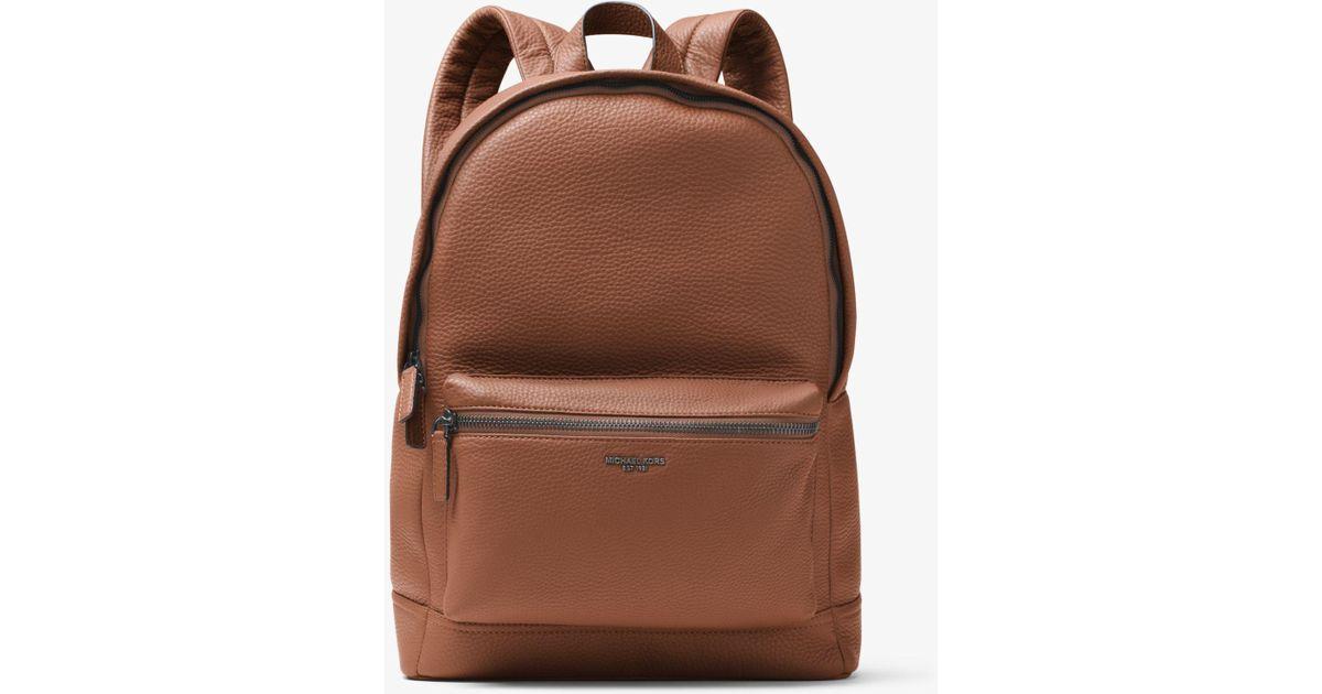 9568b71ac39d Lyst - Michael Kors Men s Bryant Pebble-textured Leather Backpack - Black  in Brown for Men