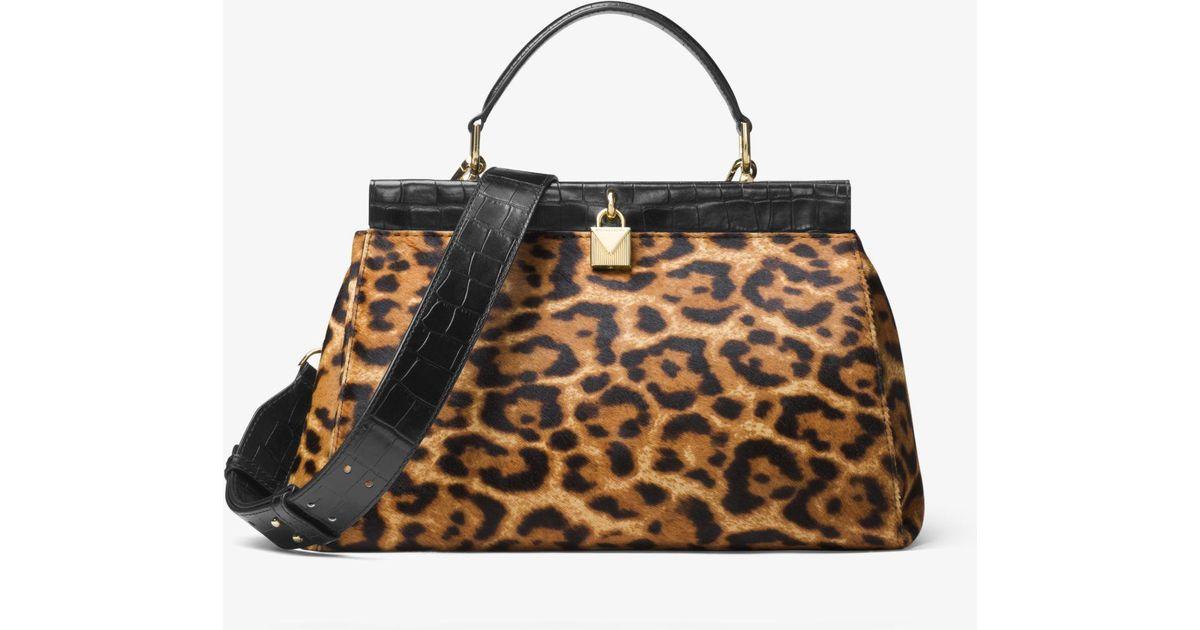 d12e7f805e80 Lyst - Michael Kors Gramercy Leopard Calf Hair Frame Satchel