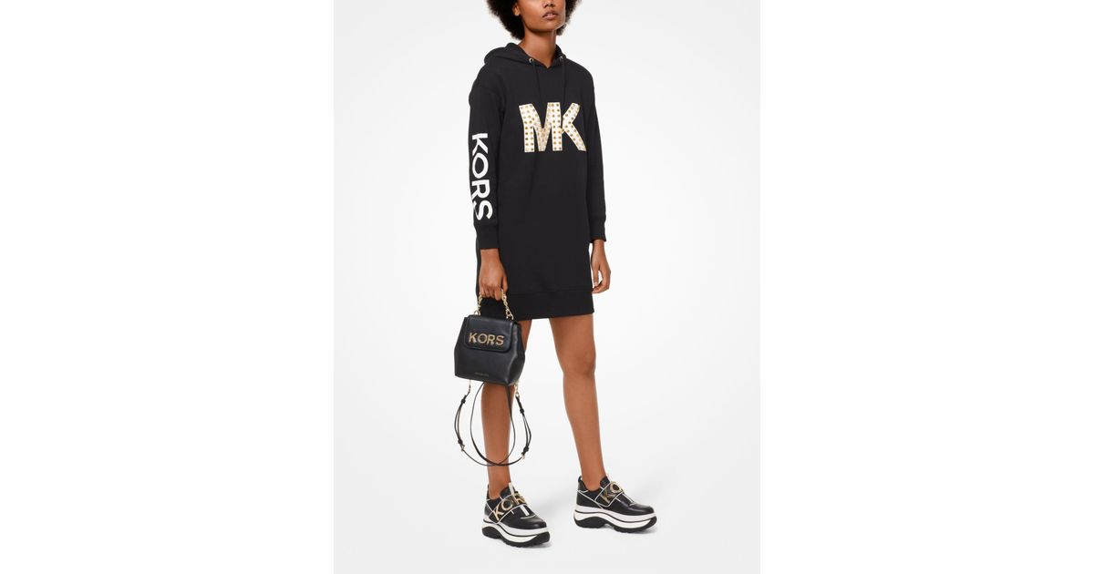 7f74a339757 Michael Kors Studded Logo Sweatshirt Dress in Black - Lyst