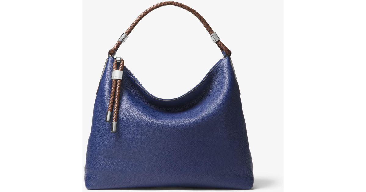 4f9786cb9296 Lyst - Michael Kors Skorpios Large Pebbled Leather Shoulder Bag