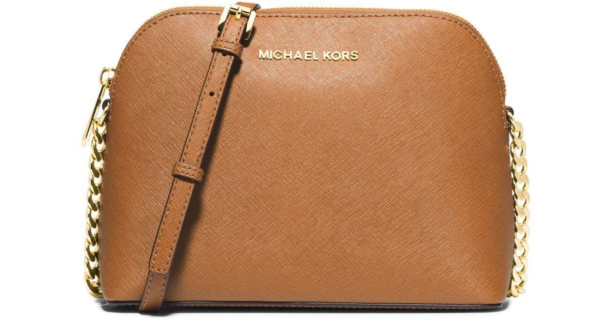 76051ff91818 Michael Kors Cindy Large Saffiano Leather Crossbody Bag in Brown - Lyst