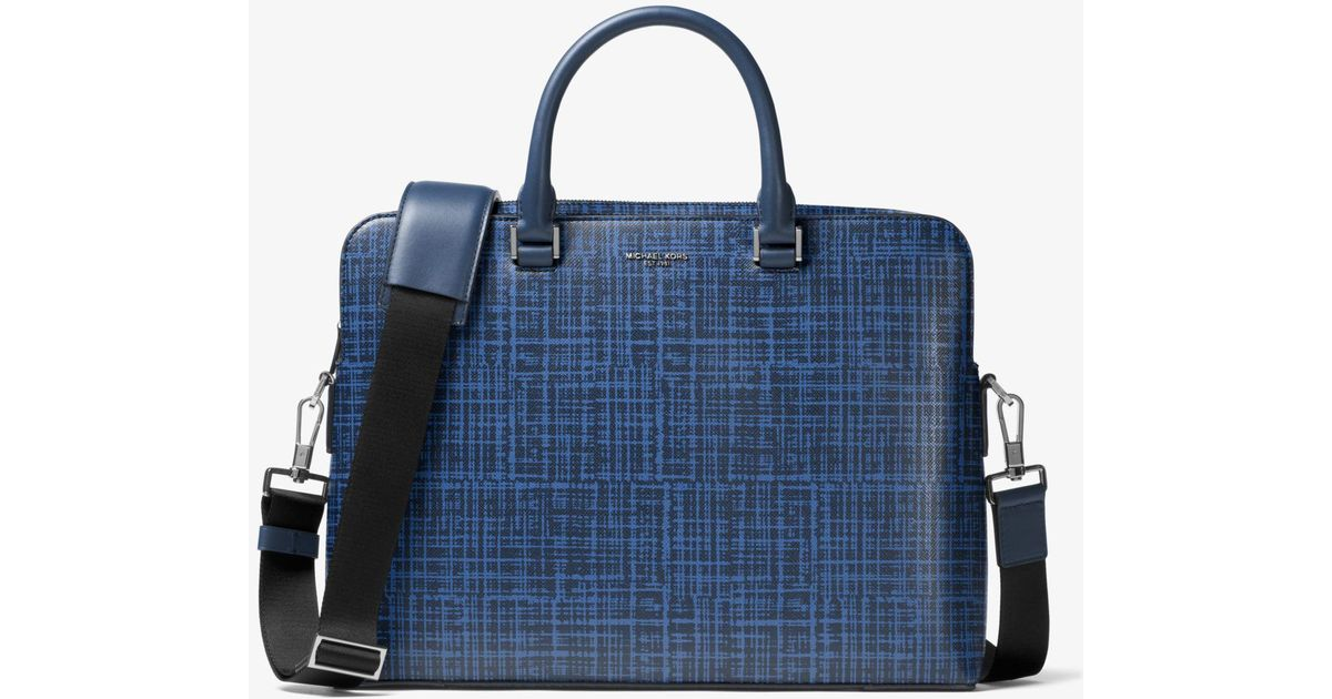 ab9c2a00e3a1 Michael Kors Harrison Crosshatch Leather Briefcase in Blue for Men - Lyst