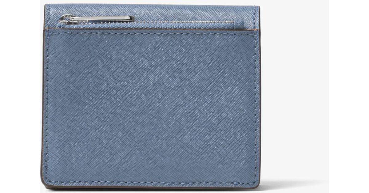 0a98596dd941 Michael Kors Travel Saffiano Leather Card Holder in Blue - Lyst