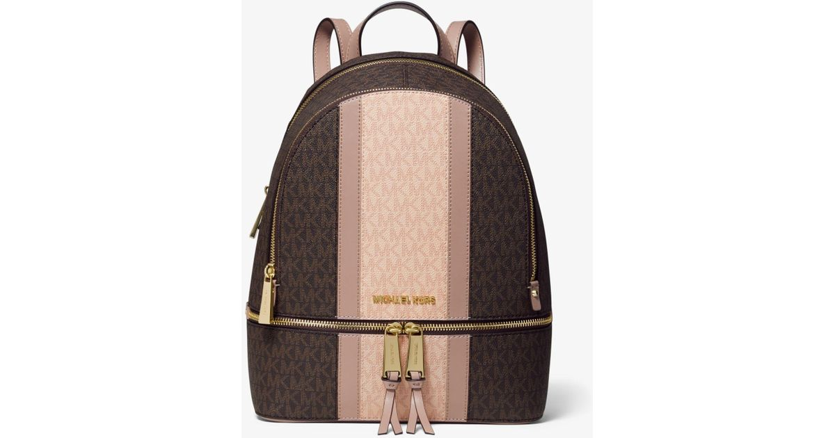 7b442e6e7e23 Michael Kors Rhea Medium Striped Logo And Leather Backpack in Brown - Lyst