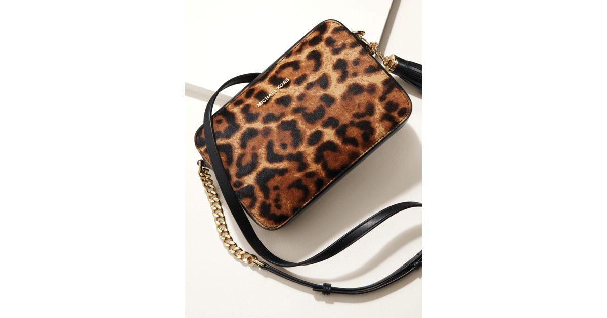 67b18a306117 Michael Kors Ginny Medium Leopard Calf Hair Crossbody - Lyst