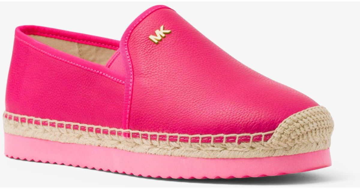 2a69e3959ec4 Lyst - Michael Kors Hastings Leather Slip-on Espadrille in Pink