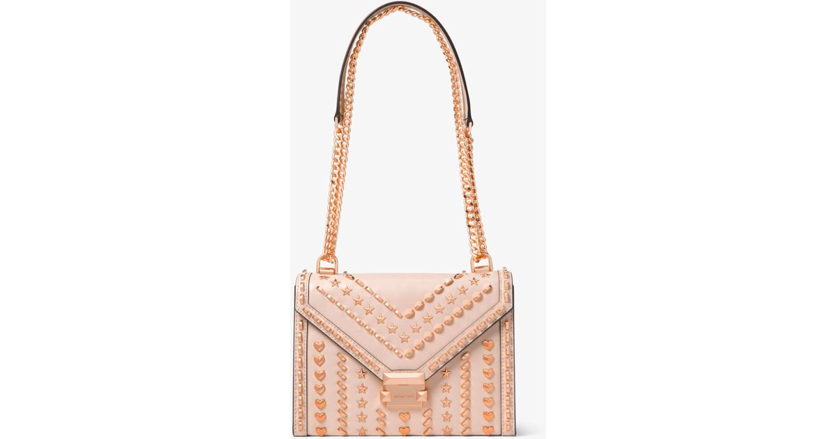 51a4c2ea8db7 Lyst - Michael Kors Whitney Large Studded Leather Shoulder Bag in Pink