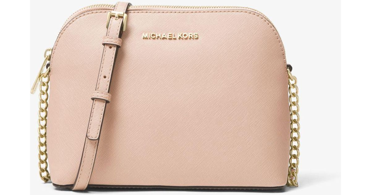 d94eacca8e56 Michael Kors Cindy Large Saffiano Leather Crossbody Bag in Pink - Lyst