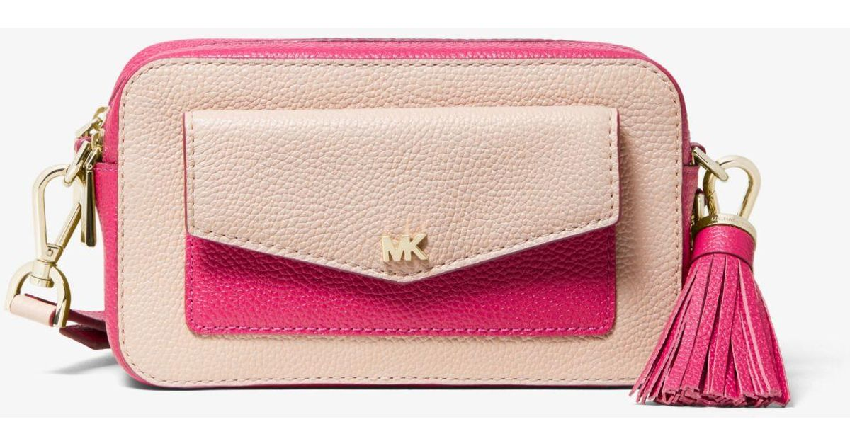 37f01c2bf37 Michael Kors Small Two-tone Pebbled Leather Camera Bag in Pink - Lyst