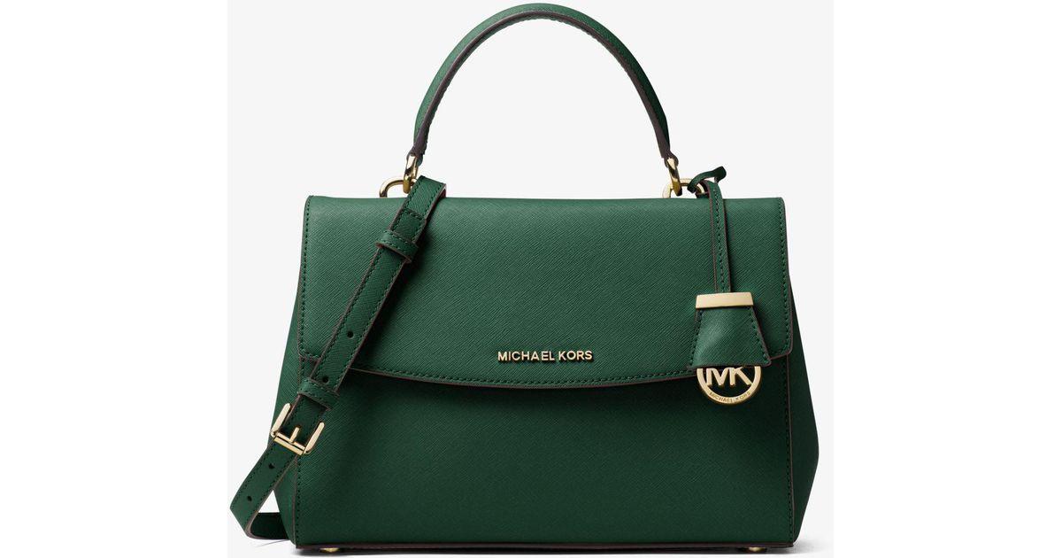 0b942eb75cce Lyst - Michael Kors Ava Medium Saffiano Leather Satchel in Green