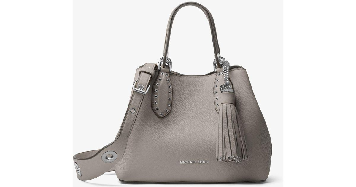 9f99cc330e28 ... hot canada lyst michael kors brooklyn small leather satchel in gray  f9d19 c8177 e66b8 4a672