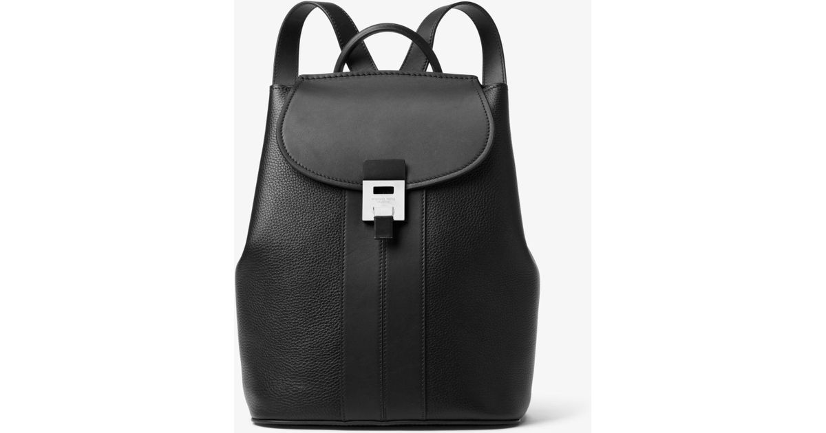 11039eff2bdd Lyst - Michael Kors Bancroft Pebbled Calf Leather Backpack in Black