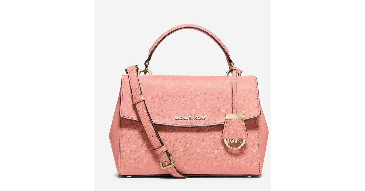 60683673f1013 Lyst - Michael Kors Ava Small Saffiano Leather Crossbody Satchel in Pink