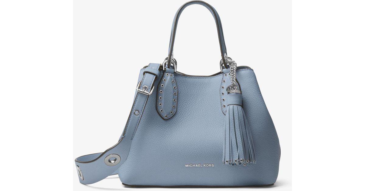 1ebb4a5c470f Michael Kors Brooklyn Small Leather Satchel in Blue - Lyst