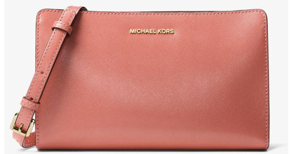 7e41993f0d85 Michael Kors Jet Set Travel Large Convertible Leather Crossbody in Pink -  Lyst