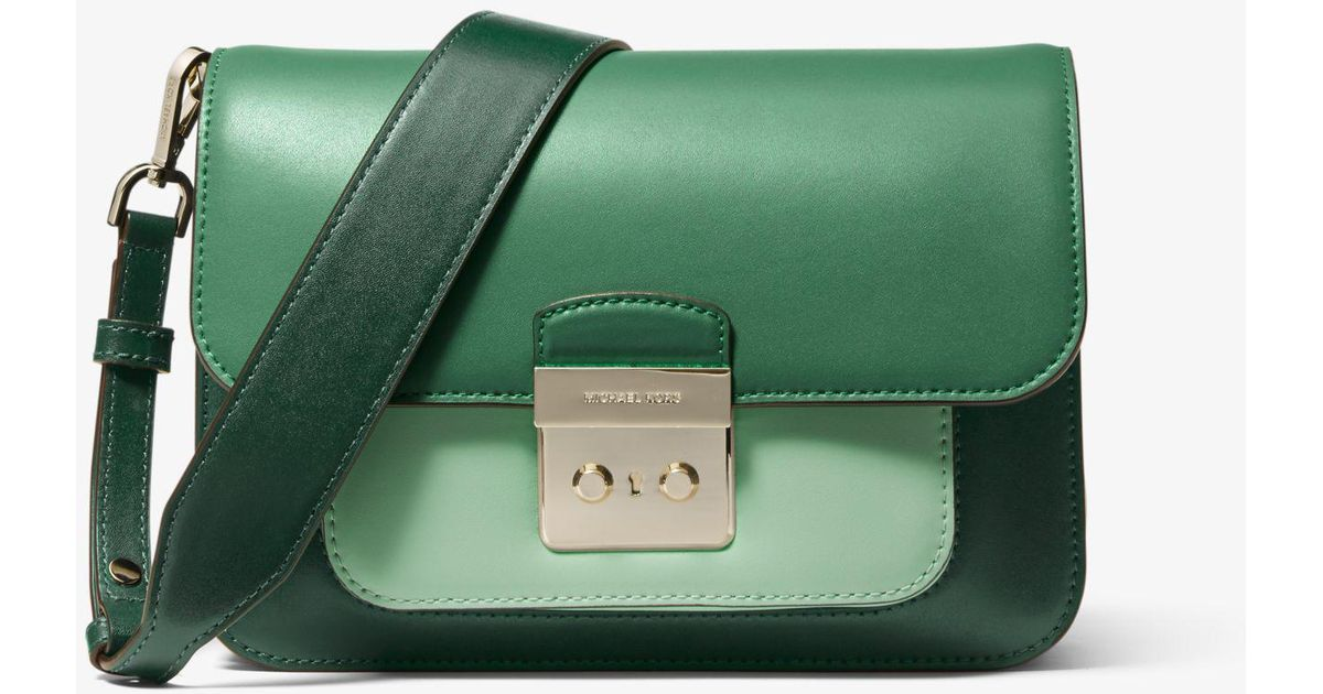 2b584ce5e7c9 Michael Kors Sloan Editor Tri-color Leather Shoulder Bag in Green - Lyst