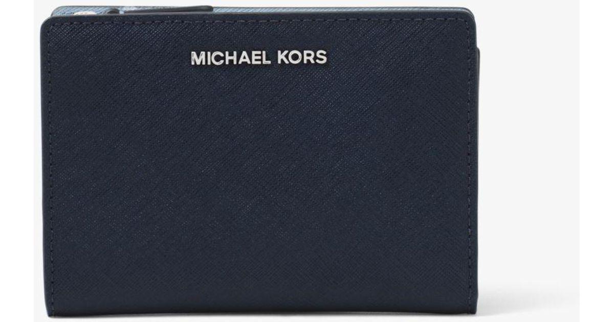 8c921d6303c3 Michael Kors Medium Saffiano Leather Slim Wallet in Blue - Lyst